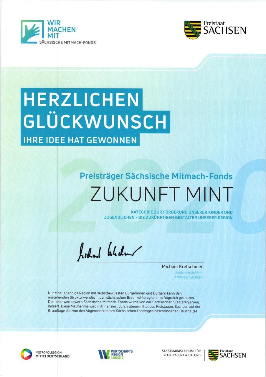 Mitmach Fonds 2020 Urkunde GeoWerkstatt